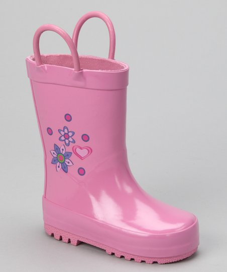 Light Pink Heart Rain Boot