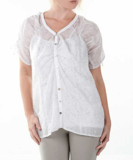White & Stone Gray Sheer Kong Fu Button-Up - Women & Plus