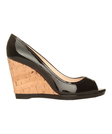 Nero Vernice Peep-Toe Wedge