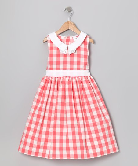 Coral Gingham Retro Dress - Infant & Toddler