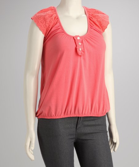 Sunset Lace Plus-Size Cap-Sleeve Top