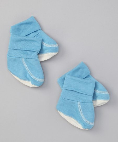 Blue Organic Booties Set
