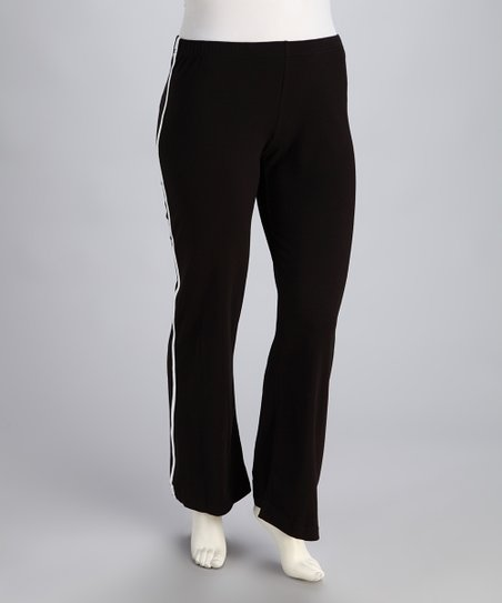 Black Elastic-Waistband Yoga Pants - Plus