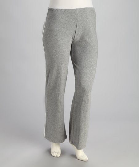 Gray Elastic-Waistband Lounge Pants - Plus