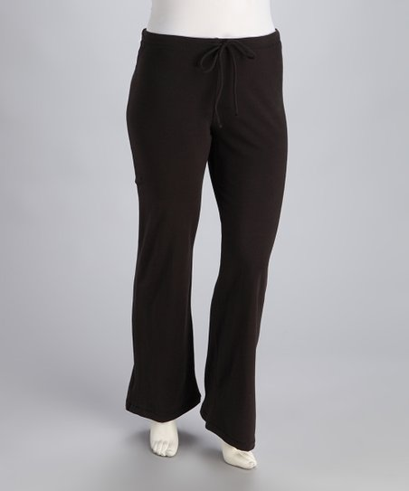 Black Drawstring Yoga Pants - Plus