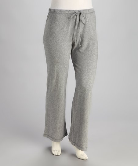 Gray Drawstring Yoga Pants - Plus