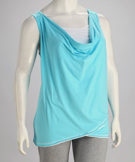 Aqua Blue Sleeveless Tunic - Plus