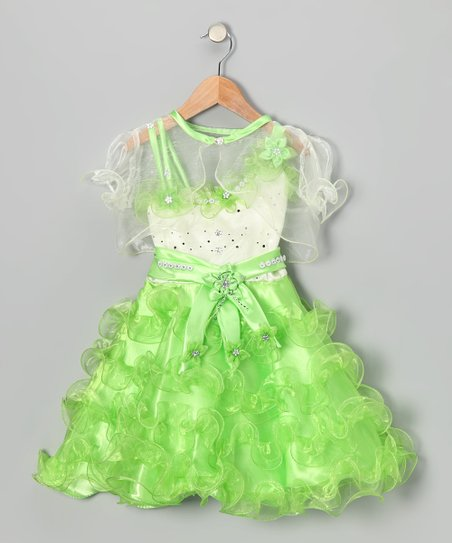 Lime Ruffle Dress & Sheer Shrug – Toddler & Girls
