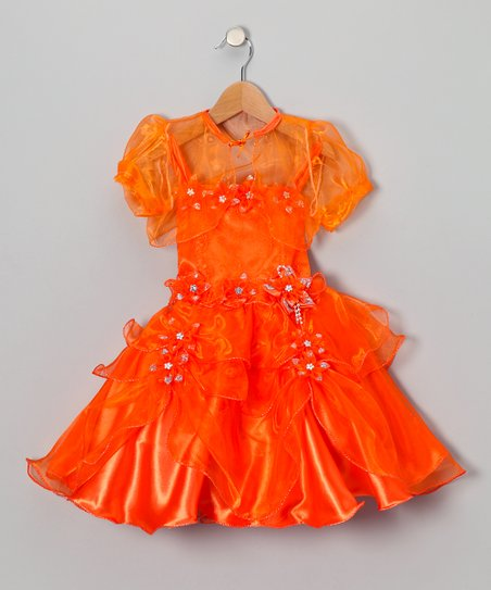 Orange Ruffle Dress & Sheer Shrug – Toddler & Girls