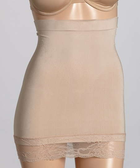Nude Lace Trim High-Waist Shaper Slip