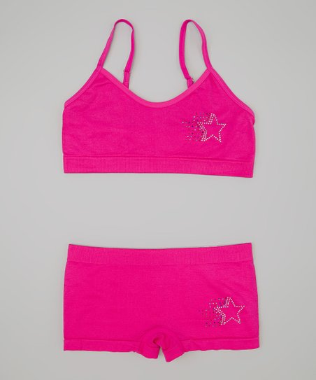 Fuchsia Rhinestone Star Sports Bra & Undershorts - Girls