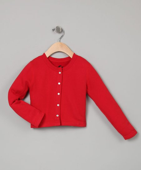 Red Cropped Cardigan - Toddler & Girls