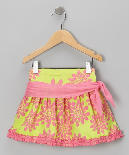 Pink & Green Floral Sash Skirt - Infant, Toddler & Girls