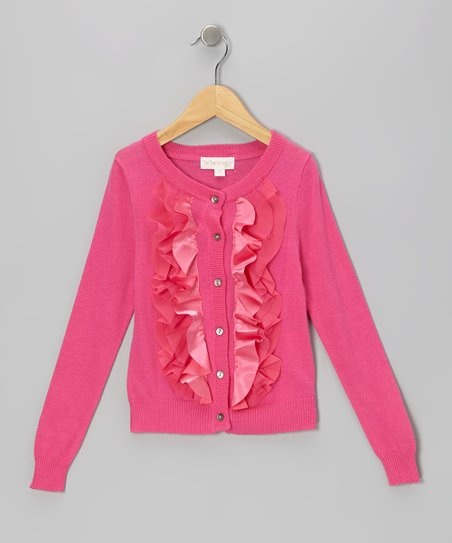 Pink Ruffle Cardigan - Toddler & Girls