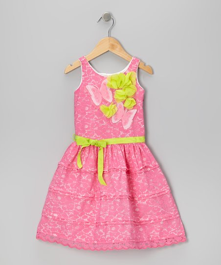 Pink Lace Butterfly Dress - Toddler & Girls