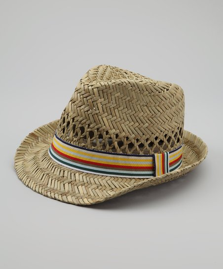 Yellow & Blue Stripe Straw Fedora