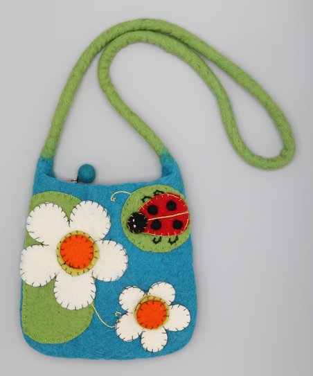 Turquoise & Green Ladybug Wool-Blend Shoulder Bag