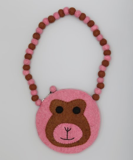 Pink & Brown Monkey Shoulder Bag