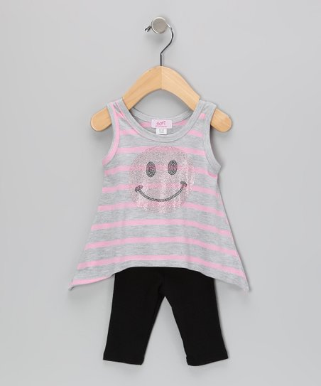 Pink Stripe Smile Sidetail Tunic & Capri Leggings - Infant
