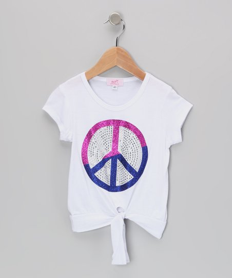 White Rhinestone Peace Crop Top - Infant, Toddler & Girls