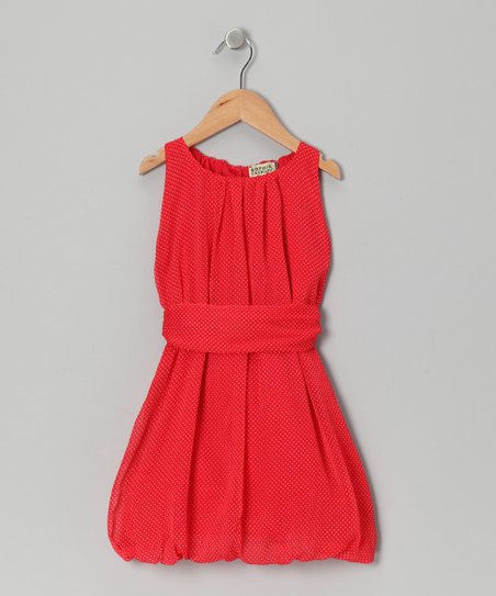 Rouge Polka Dot Edith Bubble Dress - Girls