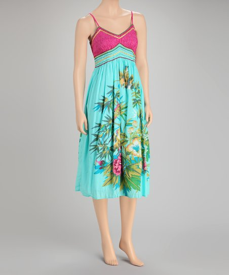Turquoise & Pink Tropical Dress