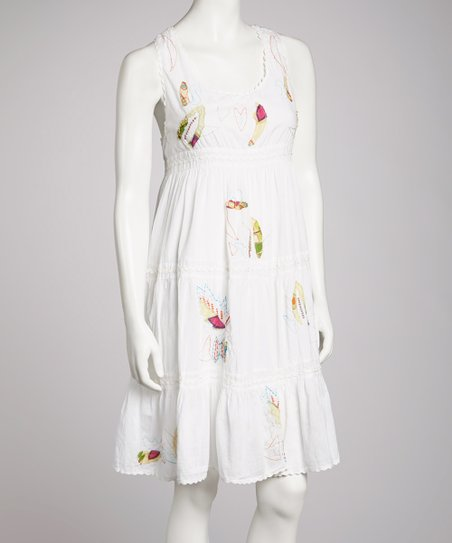 White Embroidered Empire-Waist Dress