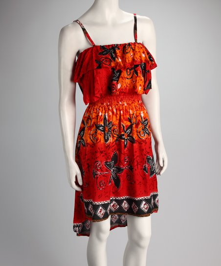 Red Floral Hi-Low Dress