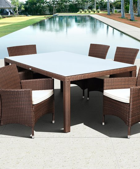 Brown Grand New Liberty Deluxe Seven-Piece Outdoor Dining Set