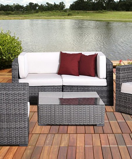 Off-White & Gray Metz Five-Piece Seating Set