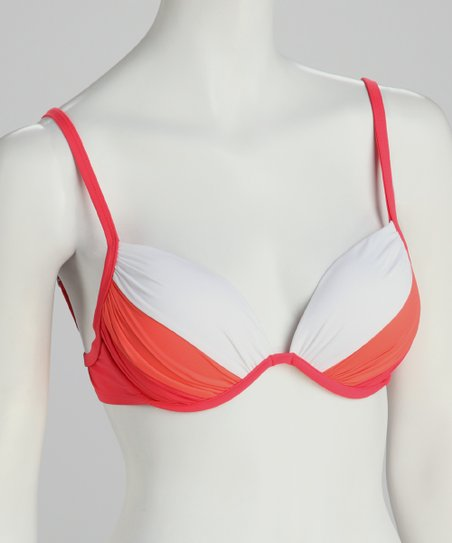 Coral & White Underwire Push-Up Bikini Top