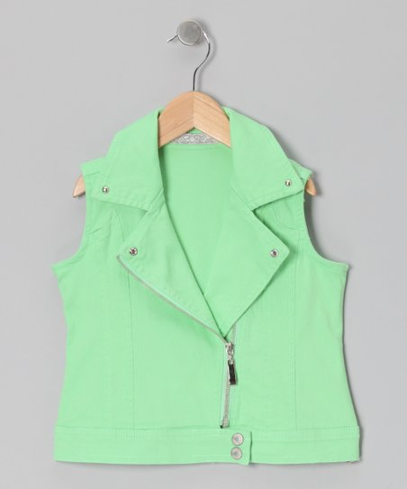 Lime Moto Zip-Up Vest - Girls