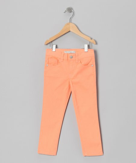 Orange Moto Straight-Leg Jeans - Toddler & Girls