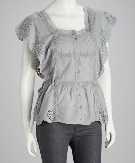 Gray Embroidered Lace Button-Up Top - Women