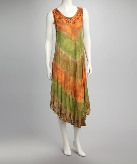 Orange & Green Floral Sleeveless Dress