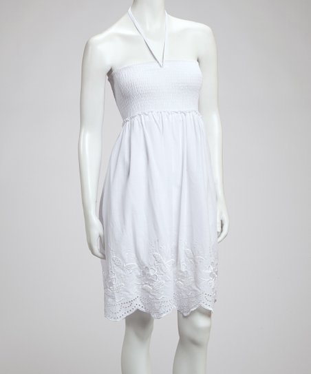 White Embroidered Convertible Dress
