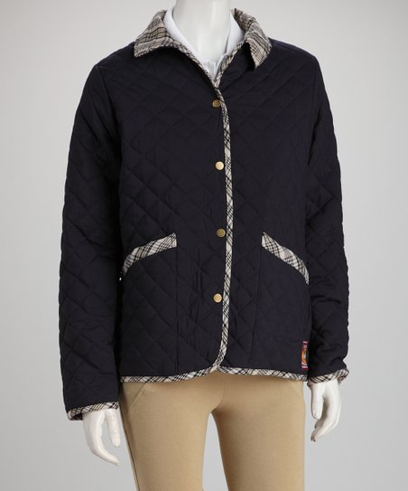 Navy Plaid Baker Quilted Jacket - Women & Plus