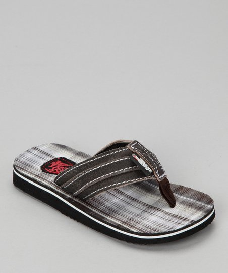Black Plaid Flip-Flop