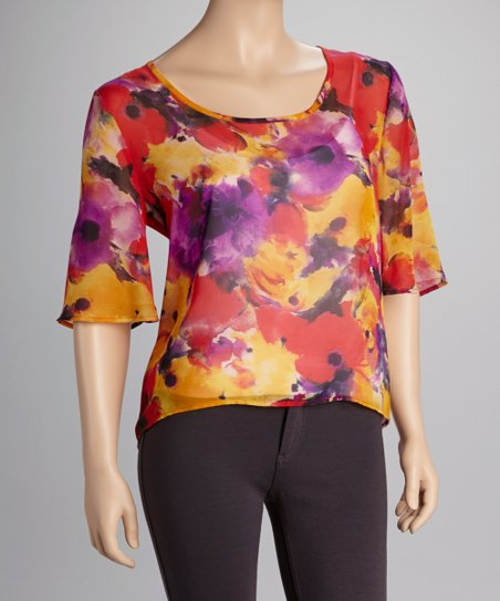 Red Floral Sheer Scoop Neck Top