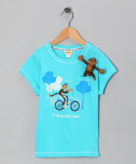 Glacier Pocket Monkey Rides Organic Tee - Infant, Toddler & Girls