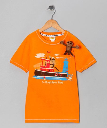 Orange Pocket Monkey Sea Organic Tee - Infant, Toddler & Boys