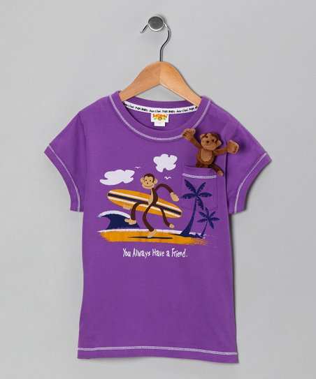 Orchid Pocket Monkey Beach Organic Tee - Infant, Toddler & Girl