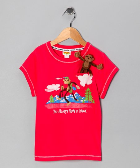Raspberry Pocket Monkey Organic Tee - Infant, Toddler & Girls