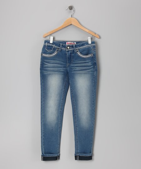 Medium Stone Wash Skinny Jeans - Girls