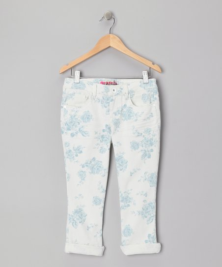 Blue Floral Capri Pants