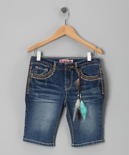 Medium Stone-Wash Whipstitch Bermuda Shorts - Girls