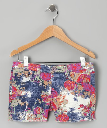 Red Floral Shorts - Girls