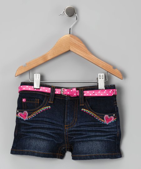 Dark Stone-Wash Heart Shorts - Toddler