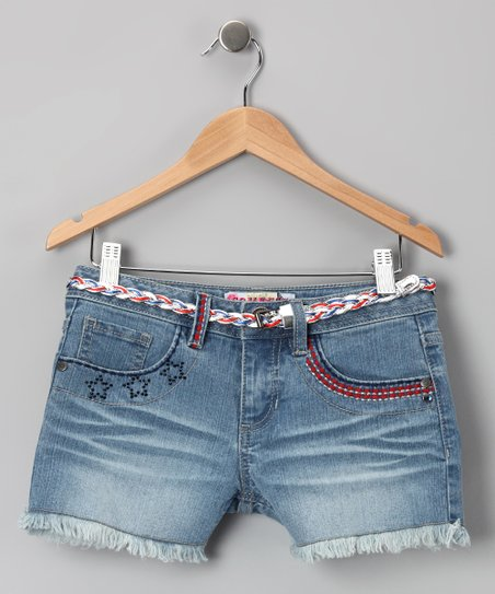 Double Stone-Wash Americana Shorts - Girls