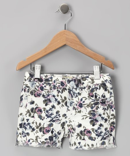 White Floral Shorts - Toddler